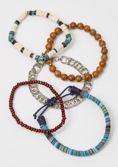 5-pack brown bead bracelet set - Main Image