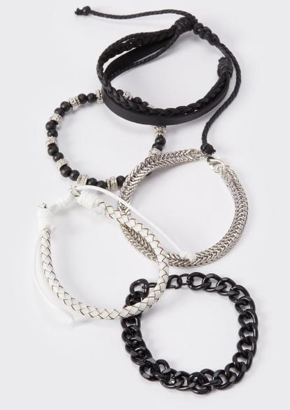 5-pack black and white wrap bracelets - Main Image