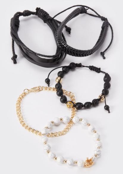 5-pack gold chain bead bracelets - Main Image