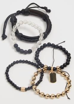 5-pack black dog tag bead bracelet set - Main Image