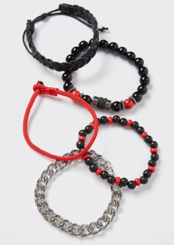 5-pack red beaded chain bracelet set - Main Image