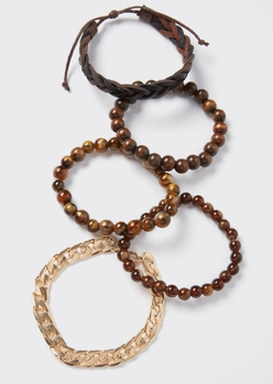 5-pack brown braided gold chain bracelet set - Main Image