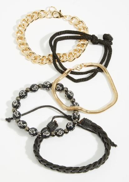 5-pack black and gold cross bracelet set - Main Image