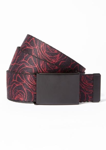 black rose print web belt - Main Image