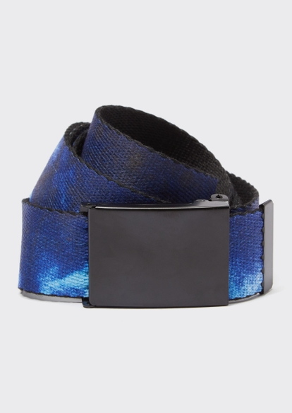 blue tie dye print web belt - Main Image