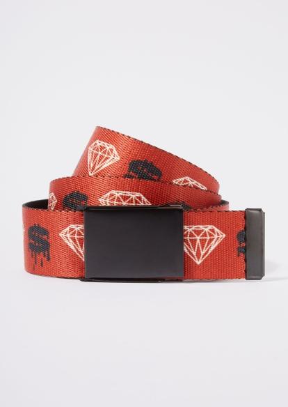 red diamond print web belt - Main Image