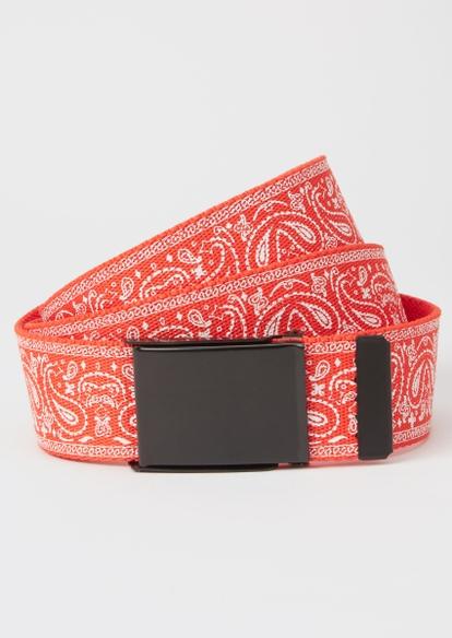 red bandana print thick web belt - Main Image