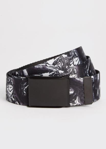 black marble print web belt - Main Image