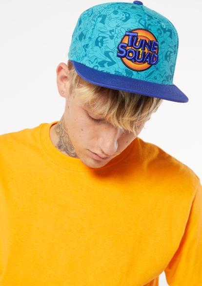 blue flat brim tune squad print logo embroidered hat - Main Image