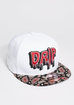 white drip embroidered paisley print snap back hat - Main Image