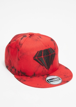 red diamond embroidered snap back hat - Main Image