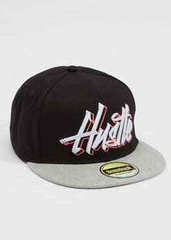 black hustle embroidered snap back hat - Main Image