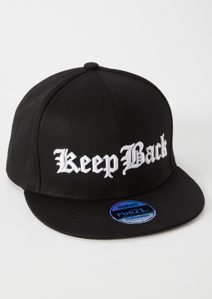 black embroidered keep back flat brim hat - Main Image