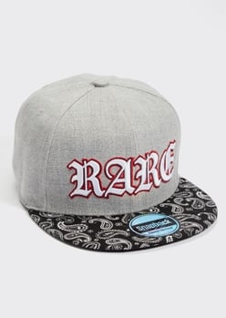 gray rare embroidered snap back hat - Main Image