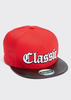 red classic embroidered snap back hat - Main Image