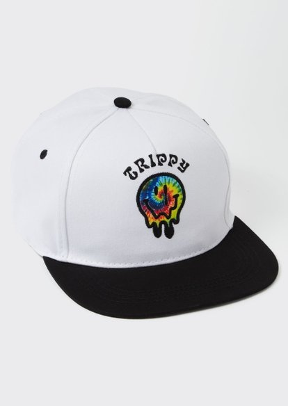 white trippy smiley snap back hat - Main Image