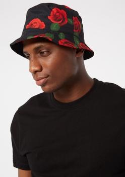 black rose print bucket hat - Main Image