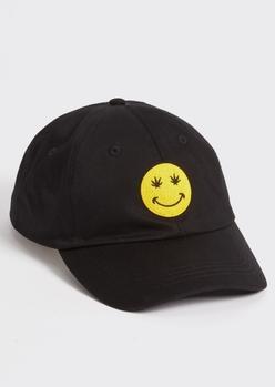 black weed leaf smiley embroidered dad hat - Main Image