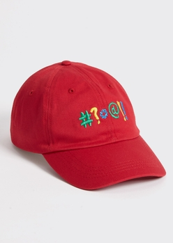 red explicits embroidered dad hat - Main Image