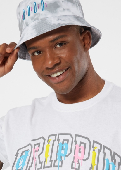 gray tie dye good vibes bucket hat - Main Image
