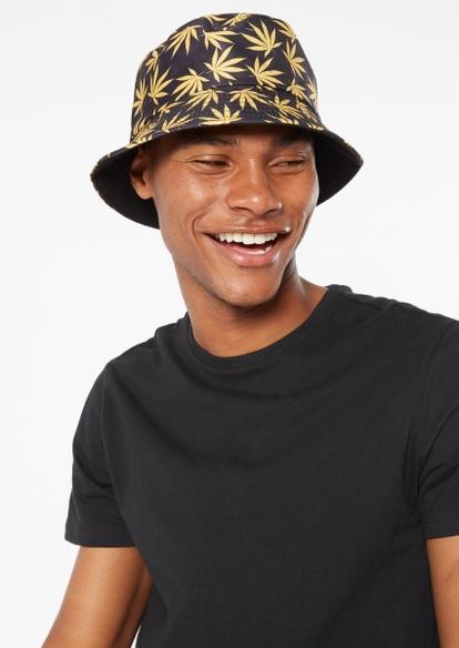 black all over weed leaf print bucket hat - Main Image