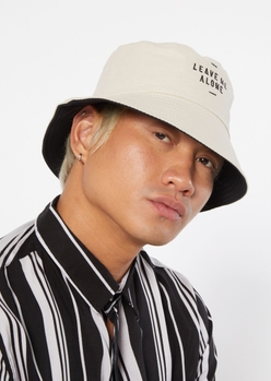 tan leave me alone embroidered reversable bucket hat - Main Image