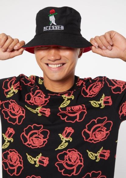 black praying skeleton rose blessed embroidered reversable bucket hat - Main Image