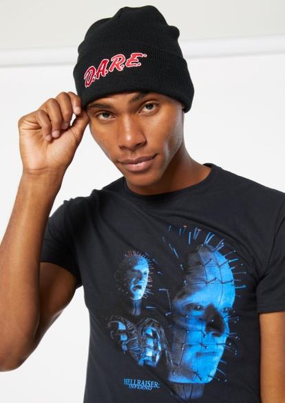 black dare embroidered beanie - Main Image