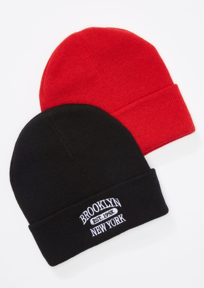 2-pack black and red brooklyn ny beanie set - Main Image