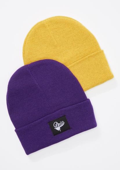 2-pack purple and yellow drip beanie set - Main Image