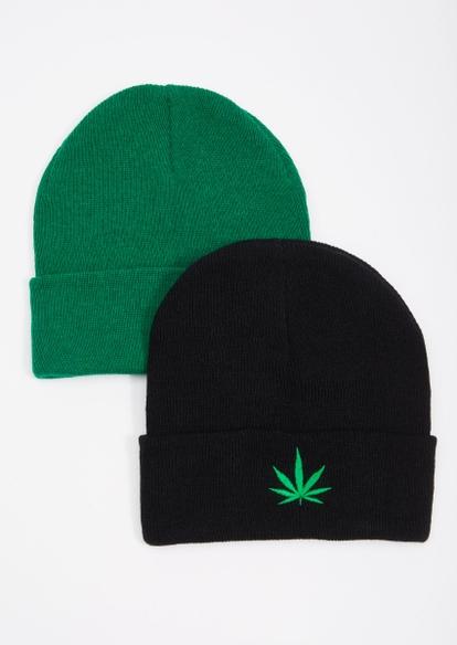 2-pack black and green weed leaf beanie set - Main Image