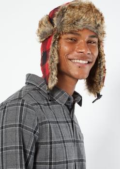 red plaid faux fur trapper hat - Main Image