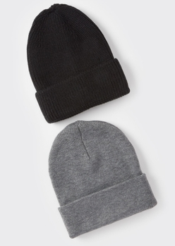 2-pack black and gray essential beanie set - Main Image