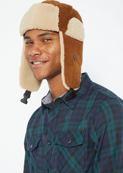 brown corduroy sherpa trapper hat - Main Image