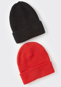 2-pack black and red essential beanie set - Main Image