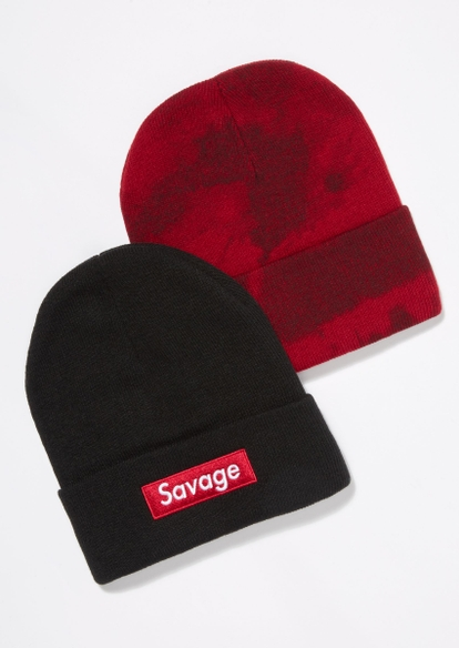 2-pack black and red tie dye savage beanie set - Main Image