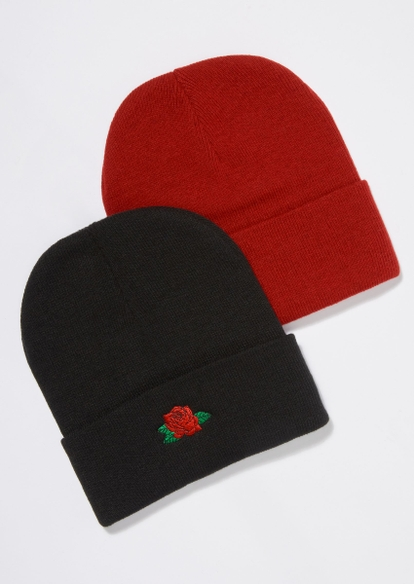 2-pack black and red rose beanie set - Main Image