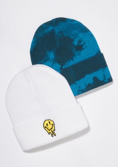 2-pack white and blue tie dye melted smiley beanie set - Main Image