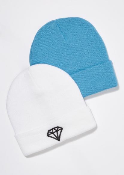 2-pack icy blue diamond beanie set - Main Image