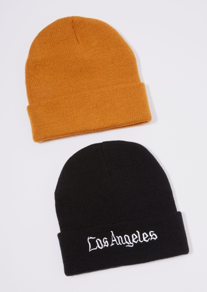 2-pack brown forever young embroidered beanie set - Main Image
