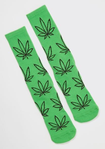 green weed print premium crew socks - Main Image