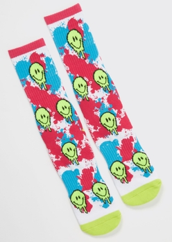 neon drippy smiley premium crew socks - Main Image
