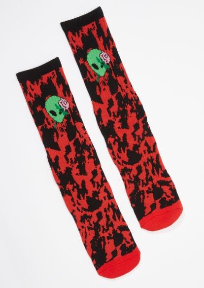 red tie dye speckle alien rose crew socks - Main Image