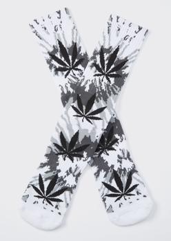 white tie dye weed leaf graphic socks - Main Image