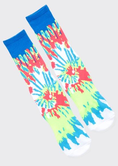 blue tie dye crew socks - Main Image