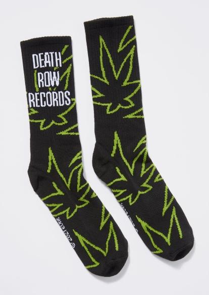 black weed leaf print death row records socks - Main Image