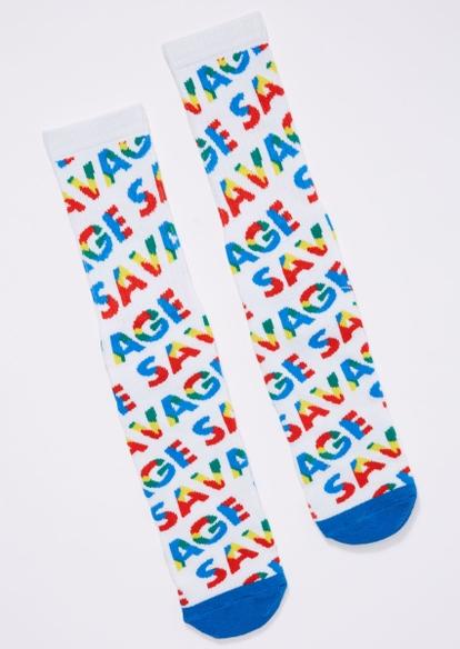 rainbow savage print crew socks - Main Image
