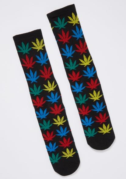 rainbow weed leaf print crew socks - Main Image