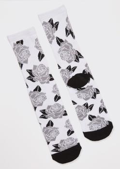 gray rose print crew socks - Main Image
