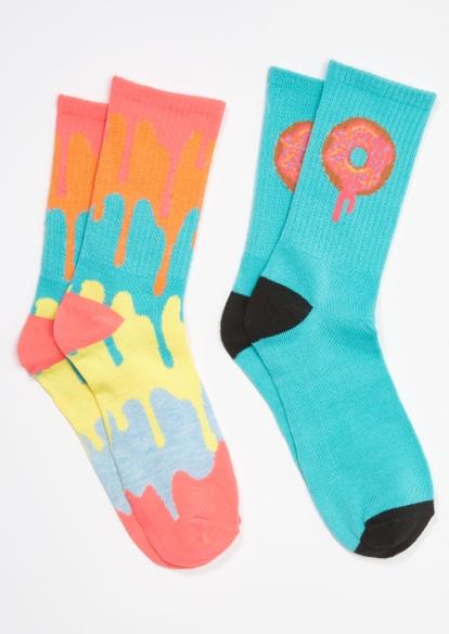 2-pack teal rainbow drip donut crew sock set - Main Image